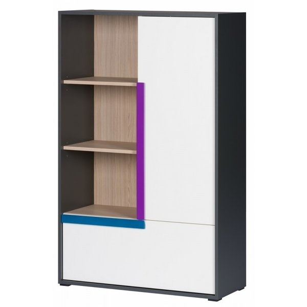 Шкаф 2D Алекс - графит/дъб сонома/бял